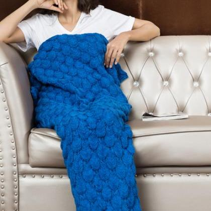 Knitted Royal Blue Mermaid Tail Bla..