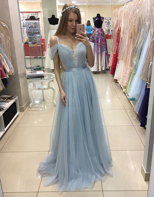4b1febade9 Glamorous A-Line Off-Shoulder Light Blue Tulle Lace Long Prom/Evening Dress