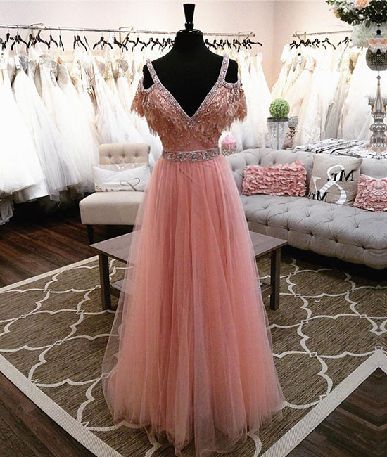 Luxurious A-Line Off-Shoulder V-Neck Pink Tulle Long Prom Dress with Beading