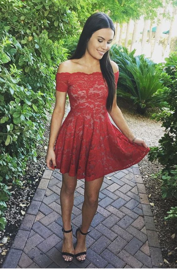 ae3d8bbe21 Stylish A-Line Off-Shoulder Red Lace Short Homecoming Dress on Luulla