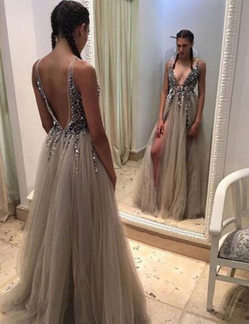 c50be0baa49bf5 Sexy A-Line V-Neck Sleeveless Backless Long Prom Dress With Beading ...