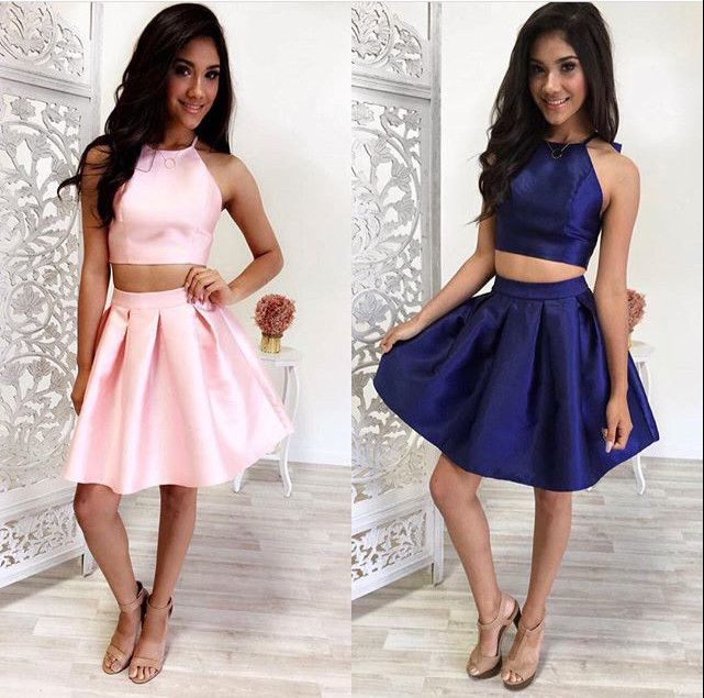 Simple Two-Piece Pink/Navy Blue Short Prom/Homecoming Dress on Luulla