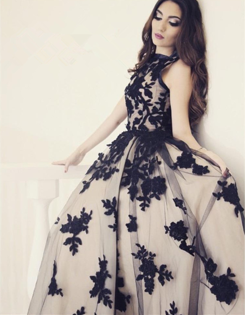 New Arrival A Line Round Neck Black Lace Long Prom Dress On Luulla
