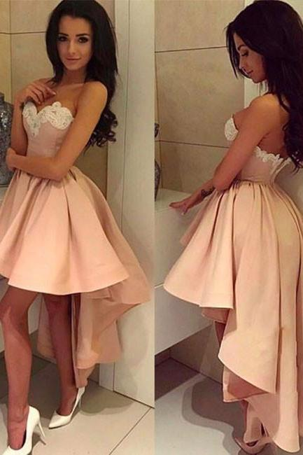 Charming A-Line Sweetheart High Low Satin Homecoming/Prom Dress with Appliques