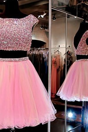 Two Piece A-Line Bateau Cap Sleeves Pink Short Homecoming Dress With Beading