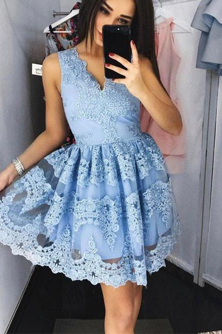Cute A-Line V-Neck Blue Lace Short Homecoming/Prom Dress