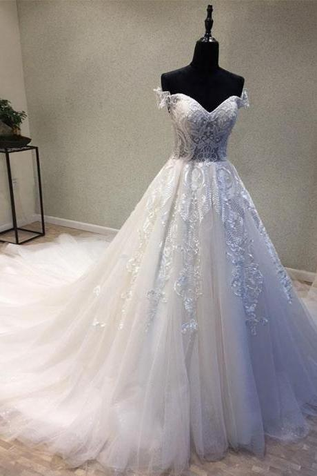 Elegant A-Line Off Shoulder Tulle Lace Appliques Long White Wedding/Prom Dress