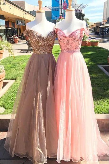 Shiny A-Line Off-Shoulder Pink/Gray Tulle Long Prom/Evening Dress with Beading