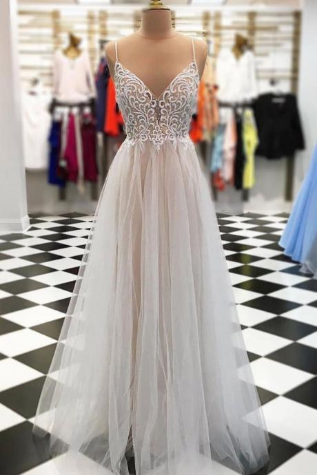 New Arrival A-Line Spaghetti Straps Tulle Long Prom/Evening Dress with Beading