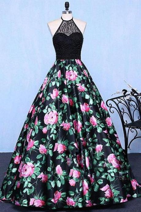 Hot Selling A-Line Halter Floral Print Long Prom/Evening Dress with Beading
