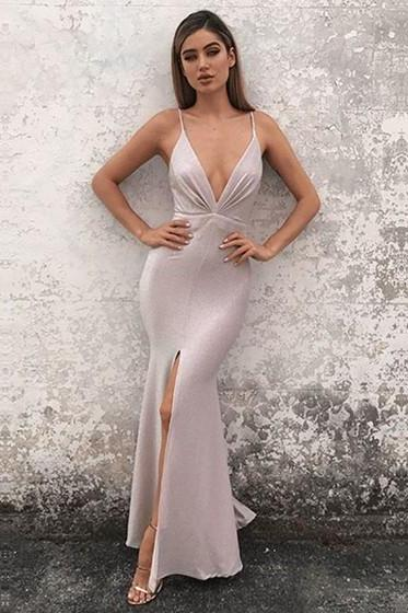 Hot Sexy Mermaid Deep V-Neck Split Front Long Prom/Evening Dress with Criss Cross