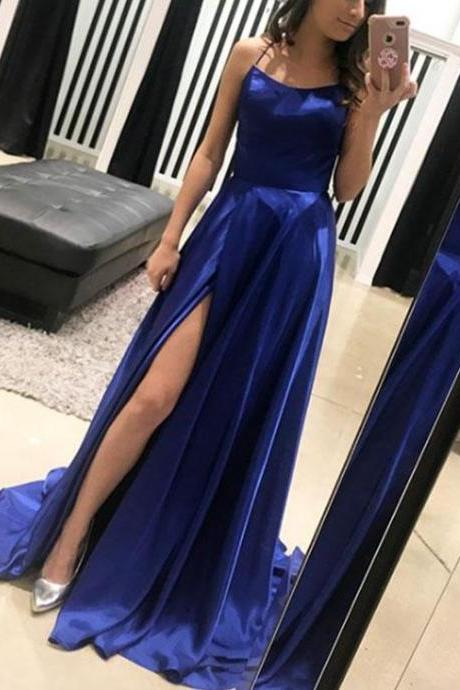 High Fashion A-Line Halter Royal Blue Cris Cross Long Prom/Evening Dress with Split Front