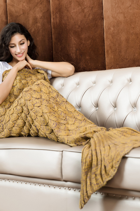Knitted Yellow Mermaid Tail Blanket Crochet Mermaid Tail Mermaid Blanket