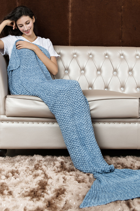 Light Blue Hand Knitted Mermaid Tail Blanket Sofa Blanket Mermaid Blanket