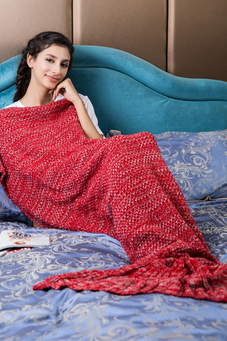 Red Mermaid Blanket Crochet Mermaid Tail Knitted Mermaid Tail Blanket for Adult