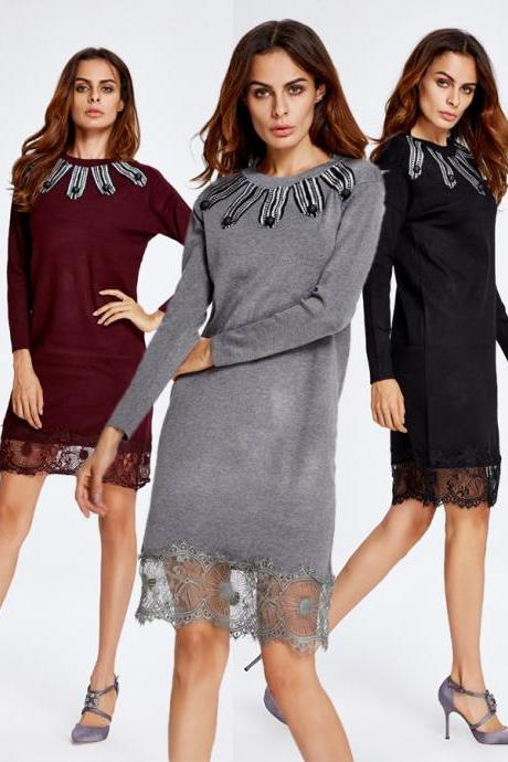 Hot- Sale Black Sweater Lace Long Sleeves Women's Sweater