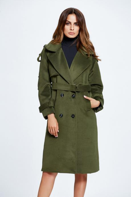 Dark Green Lapel Solid Double Breasted Overcoat with Belt