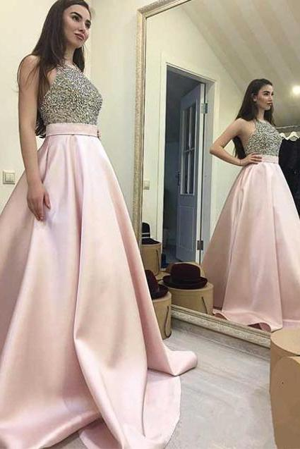 High Fashion Round Neck Pink Long Prom/Evening Dress with Sequins