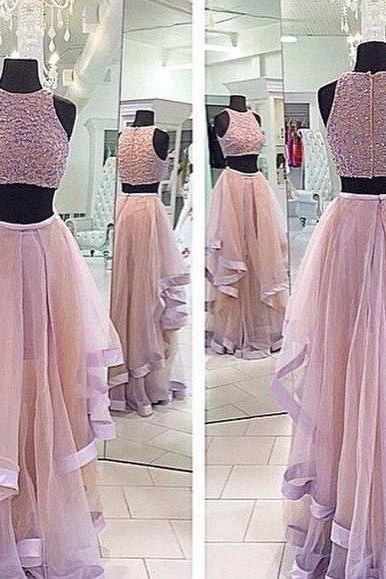 High Fashion Two Piece Beading Prom Dresses/Long Party Dress