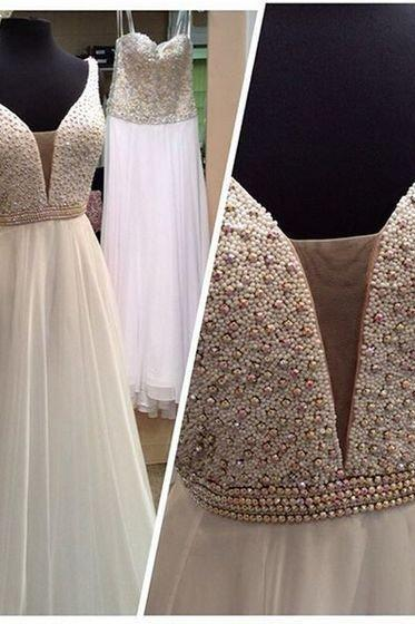 New Arrival A-Line V-Neck Floor-Length Prom Dress with Beading
