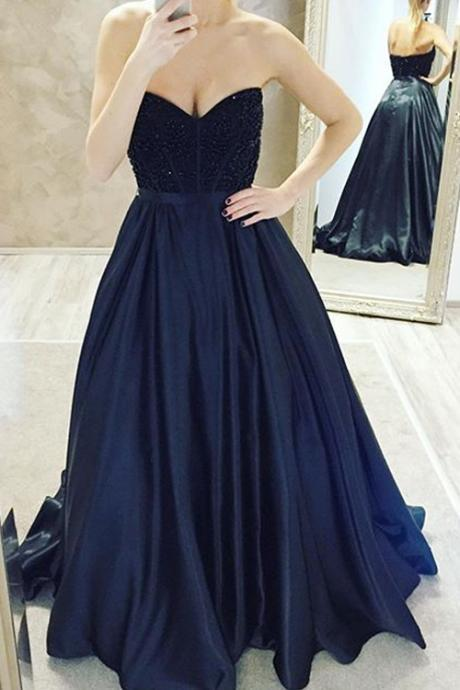 2017 New Arrival A-Line Sweetheart Ball Gown Dark Navy Prom Dress with Beading