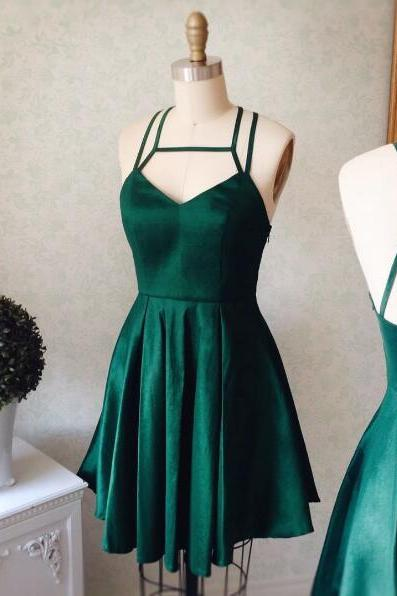 Cute A-Line Halter Sleeveless Backless Dark Green Short Homecoming Dress