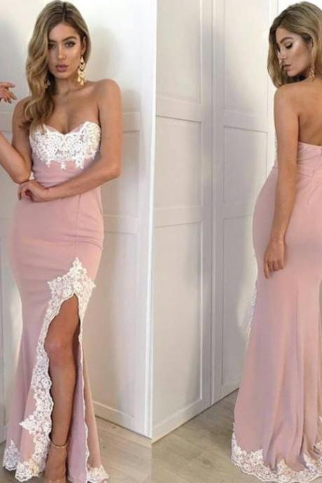 Hot-Sexy Mermaid Sweetheart Split-Front Pink Long Prom Dress with Lace Appliques