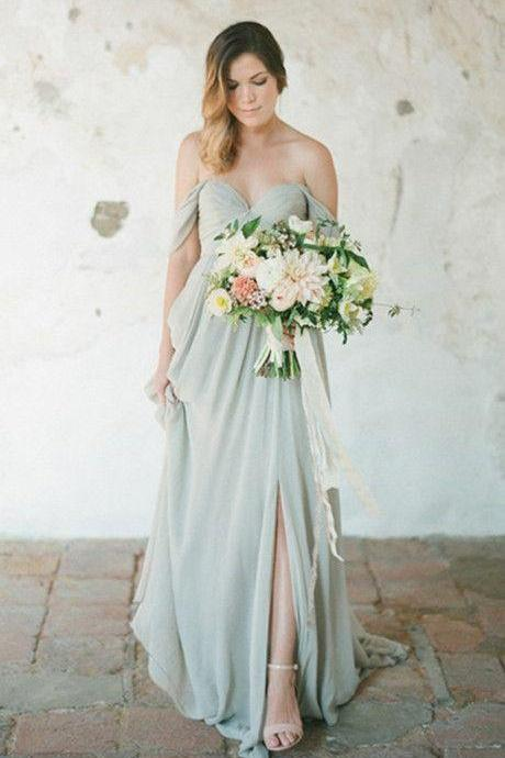 Elegant A-Line Off-Shoulder Split-Front Long Chiffon Bridesmaid Dress