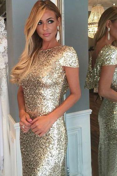 Custom Made Sheath Bateau Cap Sleeves Light Gold Sequin Bridesmaid Dress
