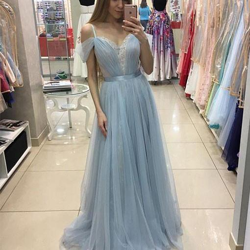Glamorous A-Line Off-Shoulder Light Blue Tulle Lace Long Prom/Evening Dress