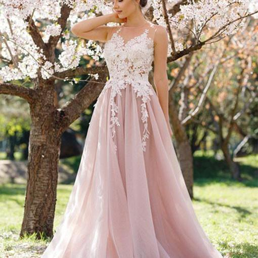 Charming A-Line Round Neck Sleeveless Pink Tulle Long Prom Dress with Apliques