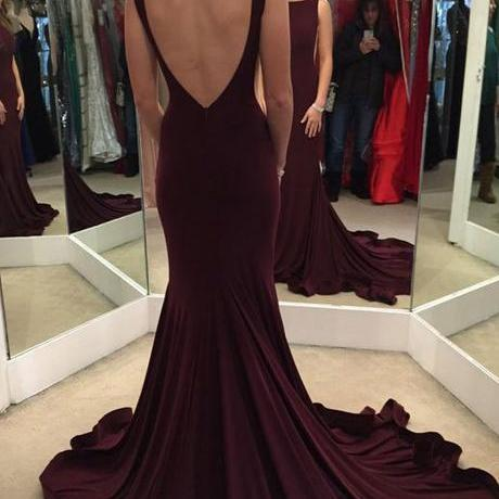 Elegant Mermaid Burgundy Sweep Train Evening/Prom Dress with Open Back