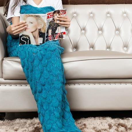 Knitted Turquoise Mermaid Tail Blanket Crochet Mermaid Tail Mermaid Blanket