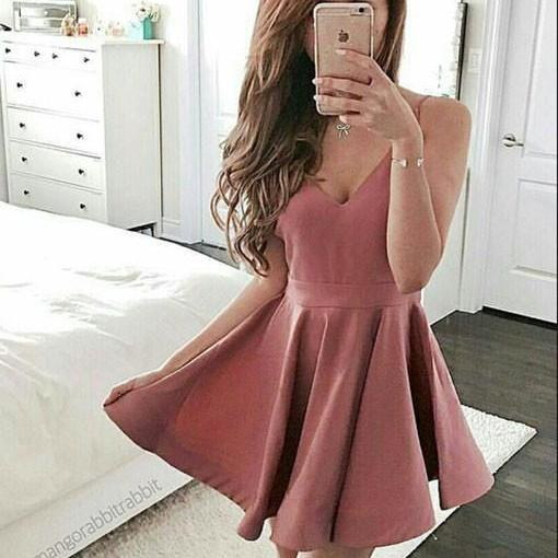 Cute A-Line Spaghetti Straps V-Neck Dark Pink Short Homecoming Dress
