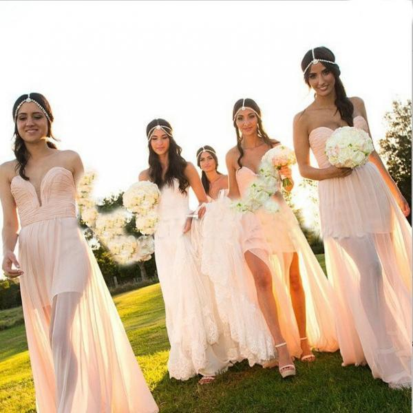 Hot-Selling Sheath Sweetheart Floor-Length Pink Chiffon Bridesmaid Dress