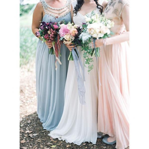 Charming A-Line Round Neck Cap Sleeves Blue Long Bridesmaid Dress with Rhinestone